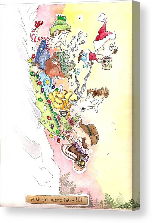 Cartoon Canvas Print featuring the drawing Wish You Were Here by C A Oliver
