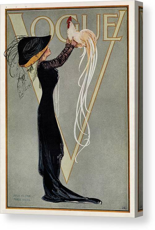 Illustration Canvas Print featuring the photograph Vintage Vogue Cover Of Woman With Rooster by Artist Unknown