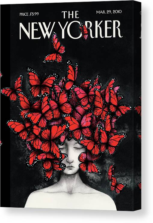 Butterflies Canvas Print featuring the painting New Yorker March 29th, 2010 by Ana Juan