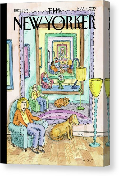 Dog Canvas Print featuring the painting New Yorker March 4th, 2013 by Roz Chast