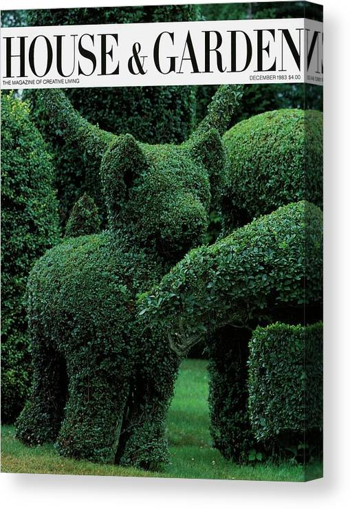 Animal Canvas Print featuring the photograph A Topiary Bear In Alice Braytons Green Animals by Horst P. Horst