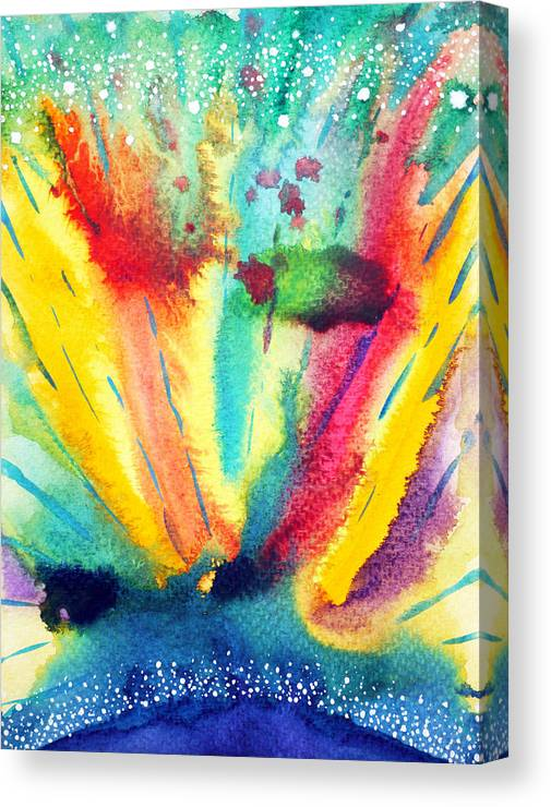 Abstract Watercolor Painting Color Colorful Universe Background Illustration Design Hand Drawn Canvas Print