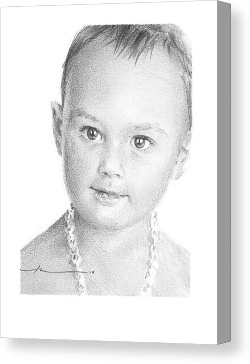 <a Href=http://miketheuer.com Target =_blank>www.miketheuer.com</a> Baby Girl With Necklace Pencil Portrait Canvas Print featuring the drawing Baby Girl With Necklace Pencil Portrait by Mike Theuer