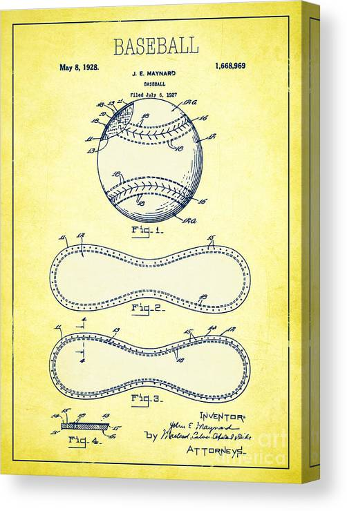 Baseball Canvas Print featuring the digital art Baseball Patent Yellow Us1668969 by Evgeni Nedelchev