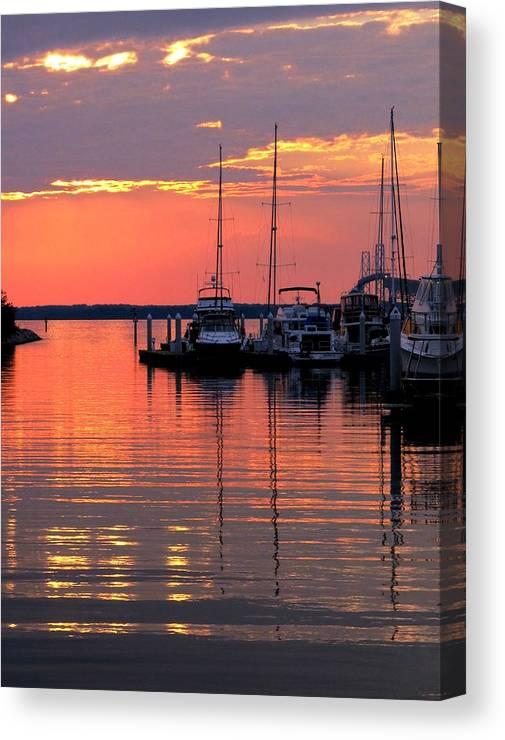 Chesapeake Canvas Print featuring the photograph Bay Bridge Sunset by Doug Edmunds