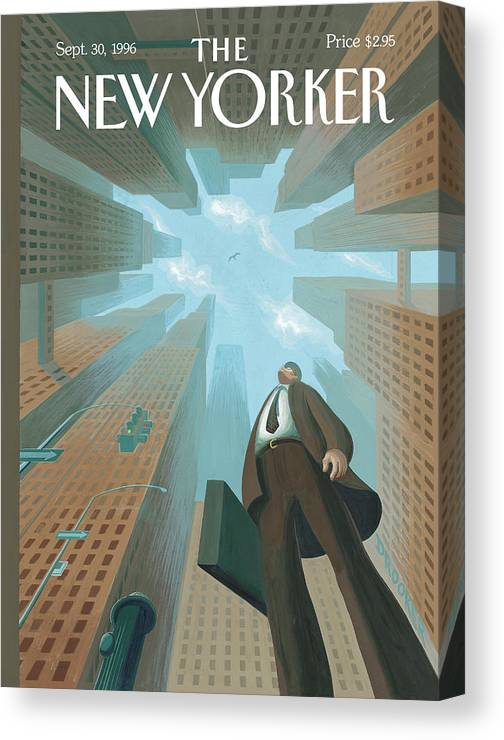 Upwardly Mobile Canvas Print featuring the painting Businessman Looks Up At Tall Skyscrapers by Eric Drooker