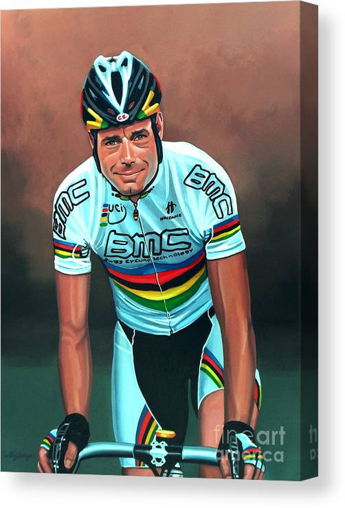 Cadel Evans Canvas Print featuring the painting Cadel Evans by Paul Meijering