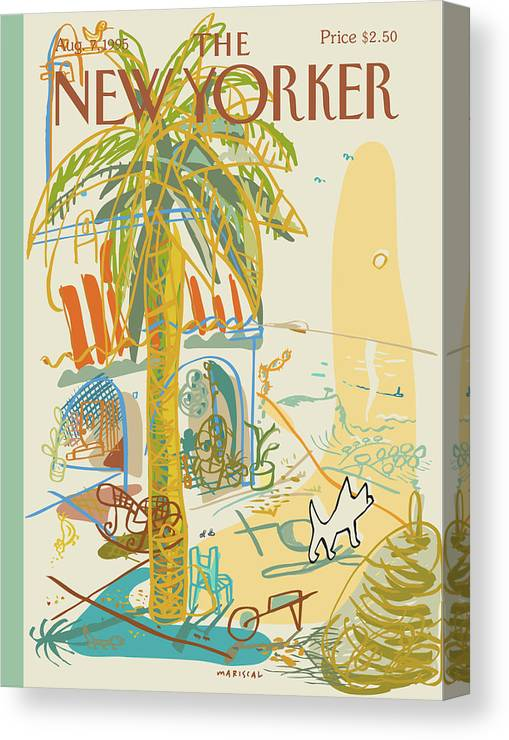 Summer Canvas Print featuring the painting Dog Walking Under A Palm Tree by Javier Mariscal