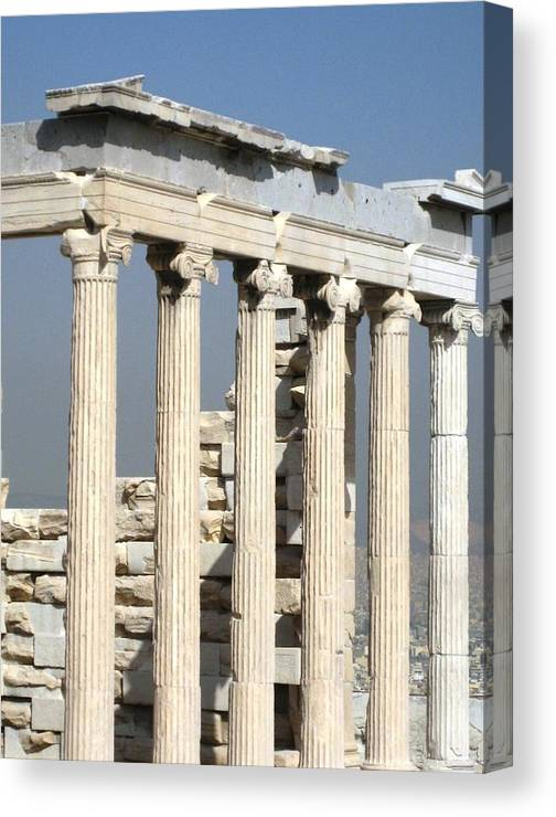 Athens Canvas Print featuring the photograph Erechtheion 4 by Teresa Ruiz