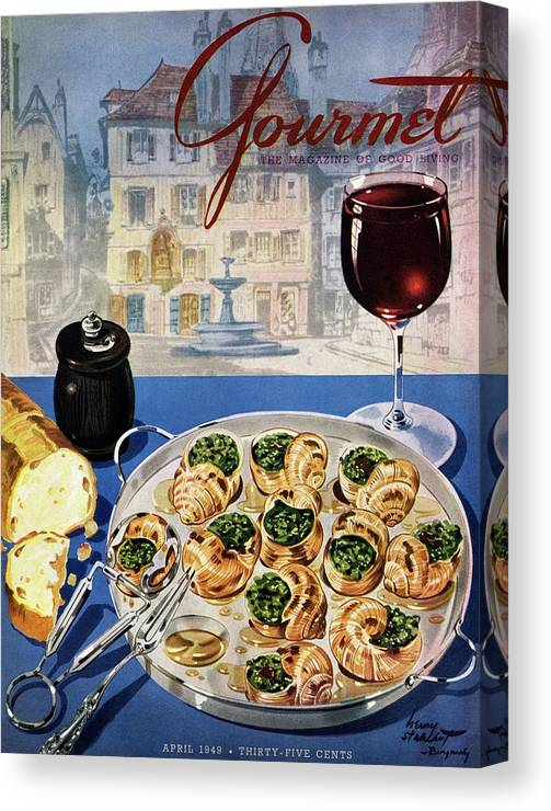 Food Canvas Print featuring the photograph Gourmet Cover Illustration Of A Platter by Henry Stahlhut