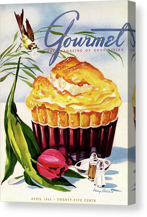 Illustration Canvas Print featuring the photograph Gourmet Cover Illustration Of A Souffle And Tulip by Henry Stahlhut
