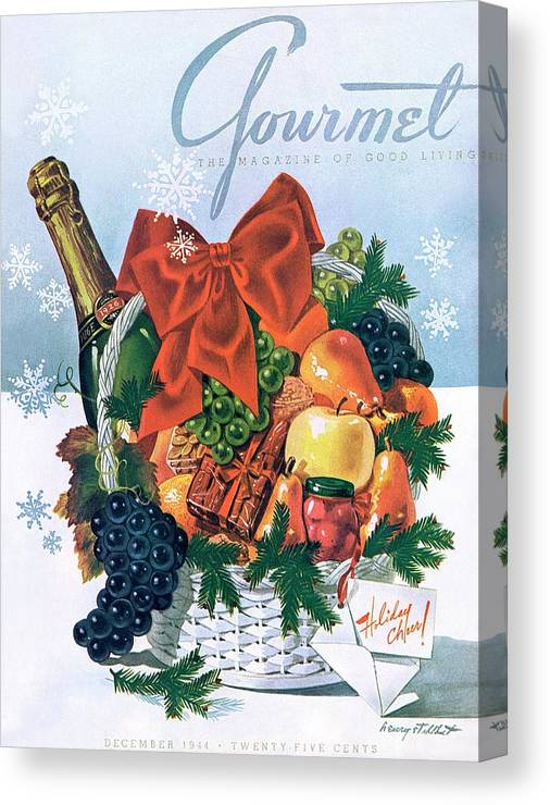 Food Canvas Print featuring the photograph Gourmet Cover Illustration Of Holiday Fruit Basket by Henry Stahlhut