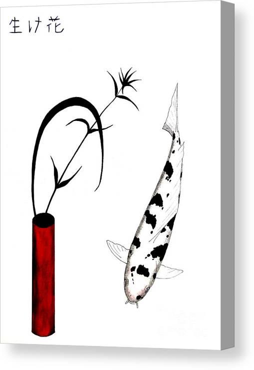 Asian.china.japan.japanese.koi.carp.fish.ikebana.flower.chabana.tancho.kohaku.ogon.sanke.hikarimono.knowsley.huyton. Canvas Print featuring the painting Ikebana Utsuri Mono by Gordon Lavender