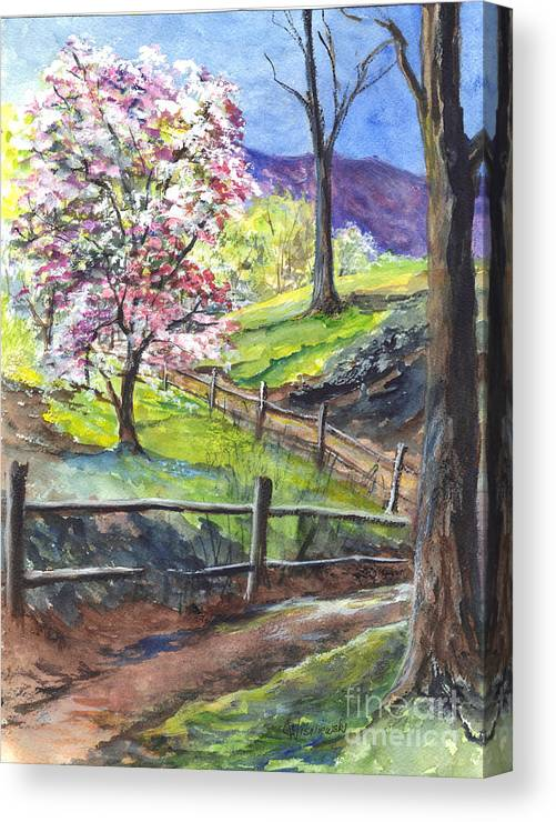 California Canvas Print featuring the painting Appleblossom Time by Carol Wisniewski