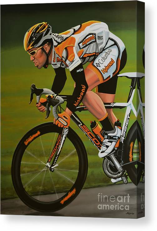 Mark Cavendish Canvas Print featuring the painting Mark Cavendish by Paul Meijering