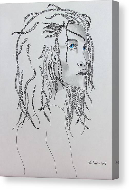Hand Canvas Print featuring the drawing Naia The First American by Ru Tover
