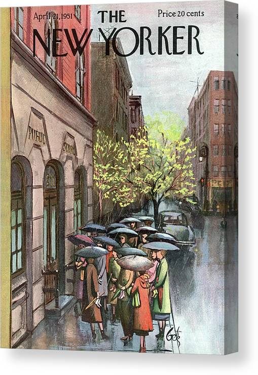 Urban City Manhattan New York City Skyscraper Skyscrapers   Skyline Cityscape River Brooklyn Bronx Queens Staten Island Uptown Upper West East Side Rain Raining Shower Umbrella Storm Weather Arthur Getz Agt Sumnerok Artkey 49194 Canvas Print featuring the painting New Yorker April 21st, 1951 by Arthur Getz