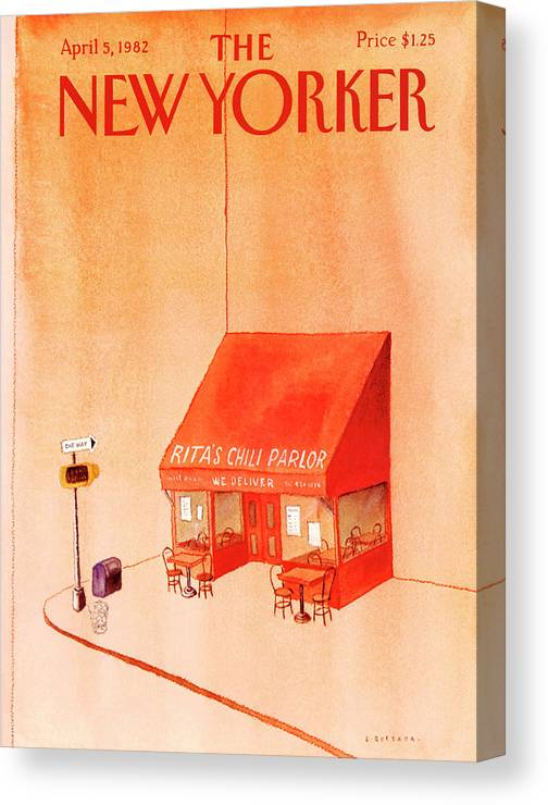 Food Canvas Print featuring the painting New Yorker April 5th, 1982 by Abel Quezada