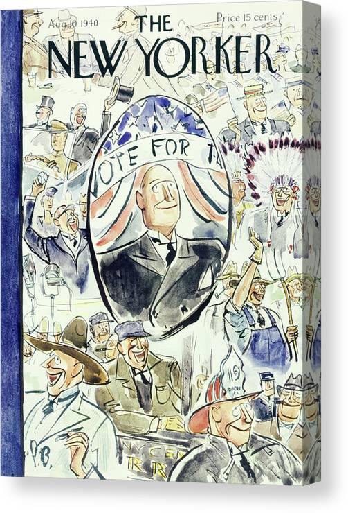 Political Canvas Print featuring the painting New Yorker August 10 1940 by Perry Barlow