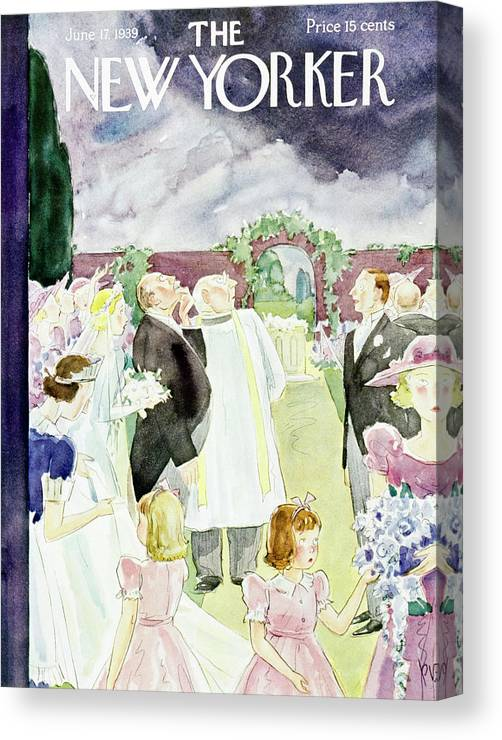 Wedding Canvas Print featuring the painting New Yorker June 17 1939 by Perry Barlow