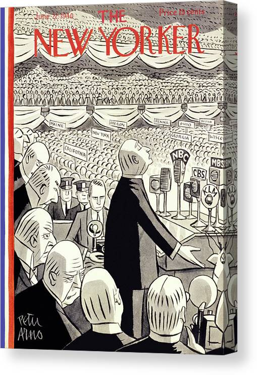 Illustration Canvas Print featuring the painting New Yorker June 22 1940 by Peter Arno
