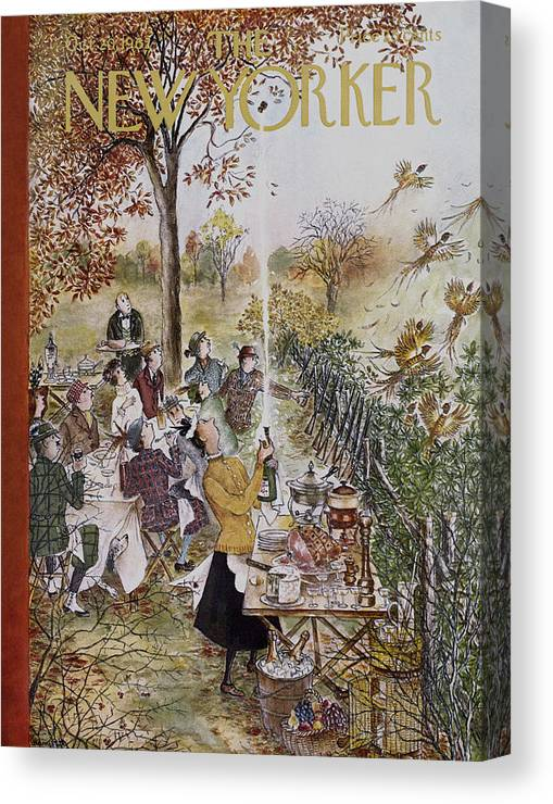 Animals Canvas Print featuring the painting New Yorker October 20th, 1962 by Mary Petty
