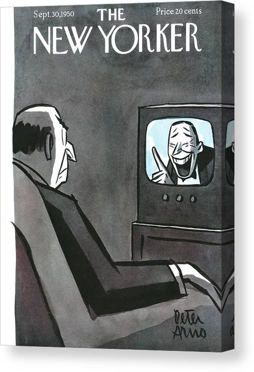 Tv T.v. Television Show Program Broadcast Entertainment Laugh Laughter Grimace Frown Upset Angry Livingroom Peter Arno Par Sumnerok Artkey 49168 Canvas Print featuring the painting New Yorker September 30th, 1950 by Peter Arno