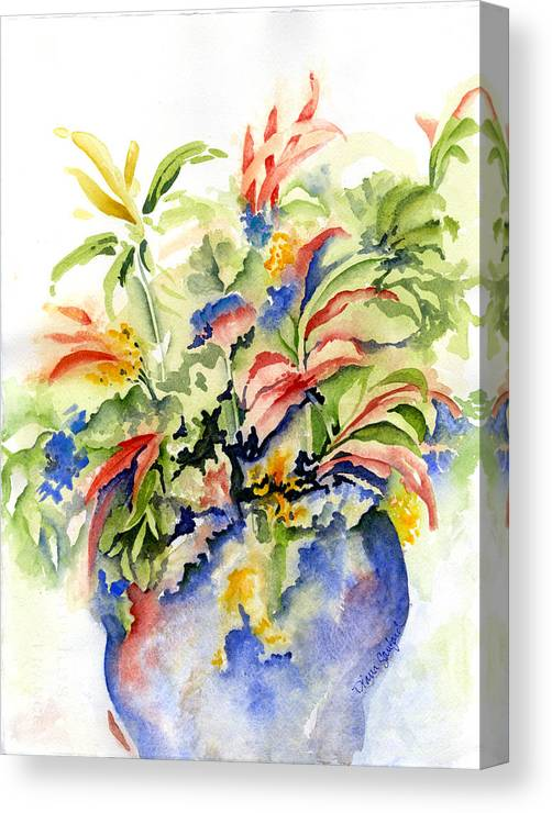 Peppers Canvas Print featuring the painting Pepper Plant by Diana Sanford