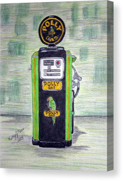 Parrot Canvas Print featuring the painting Polly Gas Pump by Kathy Marrs Chandler