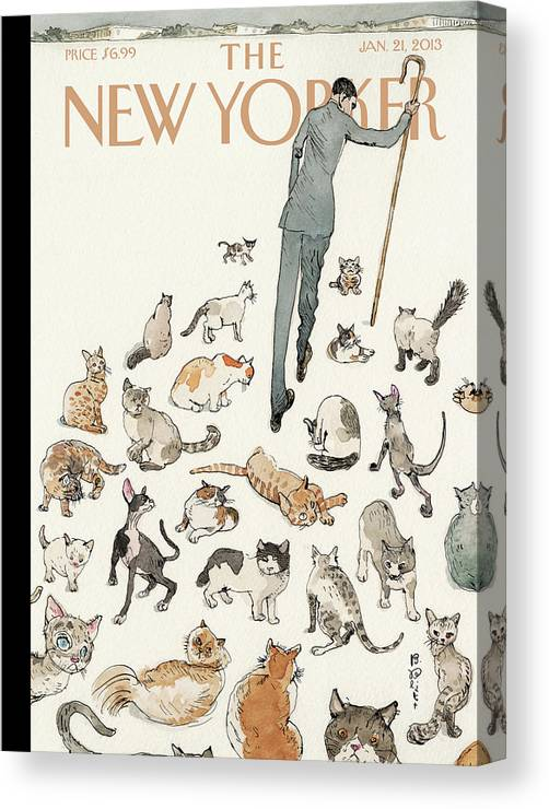 Congress Canvas Print featuring the painting President Obama Attempts To Herd Cats by Barry Blitt