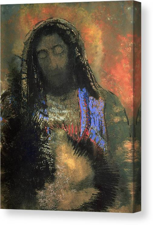 Sacred Heart Canvas Print featuring the painting Sacred Heart by Odilon Redon