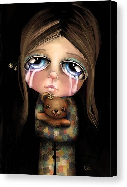 Sad Eyes Canvas Print featuring the digital art Sad Eyes by Karin Taylor