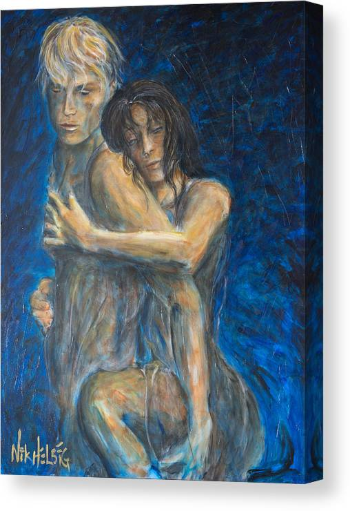 Lovers Canvas Print featuring the painting Slow Dancing Vi by Nik Helbig