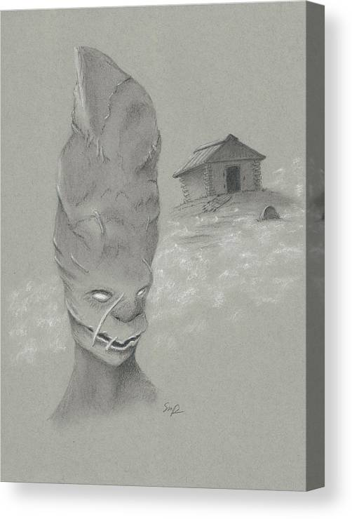 Art; Halloween; Seasonal; Scary; Charcoal; Drawing; Toned Paper; Mummy; Canvas Print featuring the drawing The Mummy Aka Uncle Ned by Steven Powers SMP