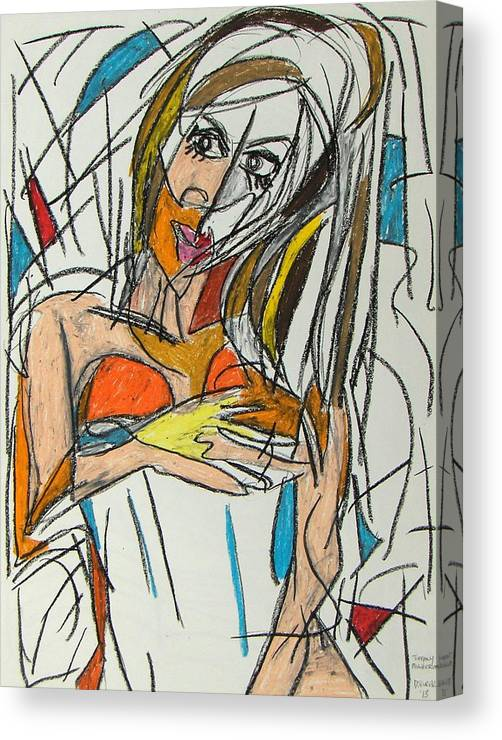 Woman Canvas Print featuring the pastel Tiffany by Drew Eurek