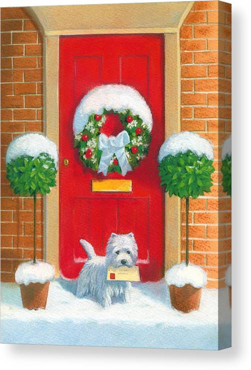 Dog Canvas Print featuring the painting Westie Post by David Price