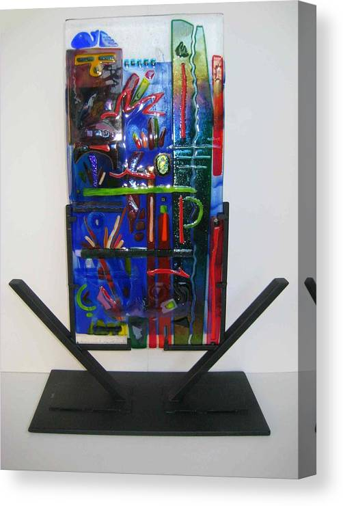 Fused Canvas Print featuring the sculpture American Graffiti by Mark Lubich