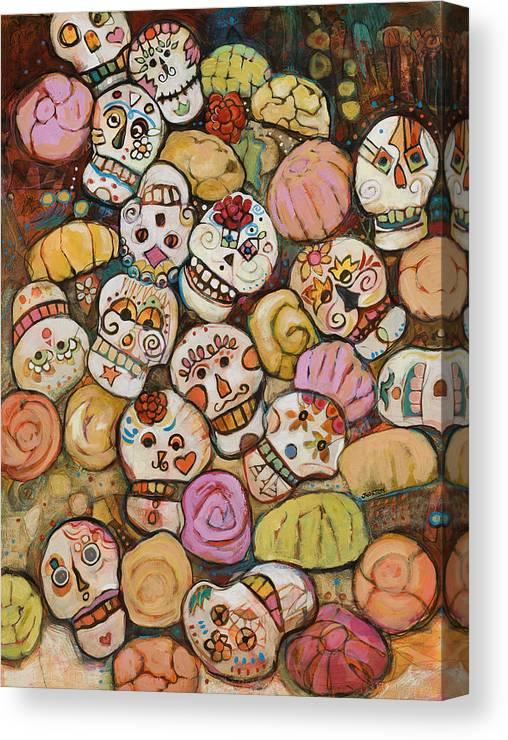 Jen Norton Canvas Print featuring the painting Calaveras Azucar Y Pan Dulce  by Jen Norton c097273f3ab84