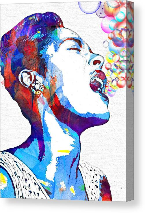 Blues Canvas Print featuring the mixed media Billie Holiday by Vel Verrept
