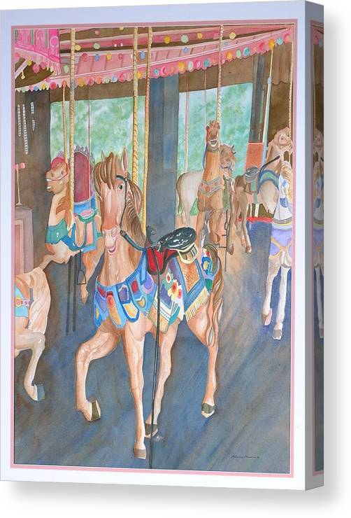 Carousel Canvas Print featuring the painting Childhood Memories by Rebecca Marona