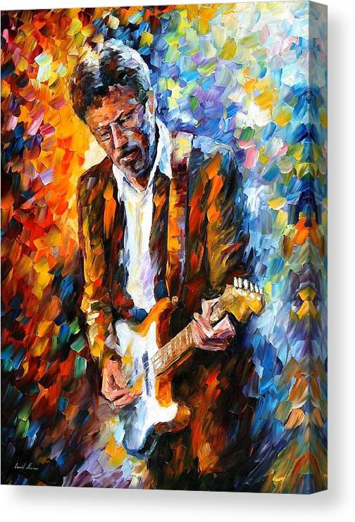 Afremov Canvas Print featuring the painting Eric Clapton by Leonid Afremov
