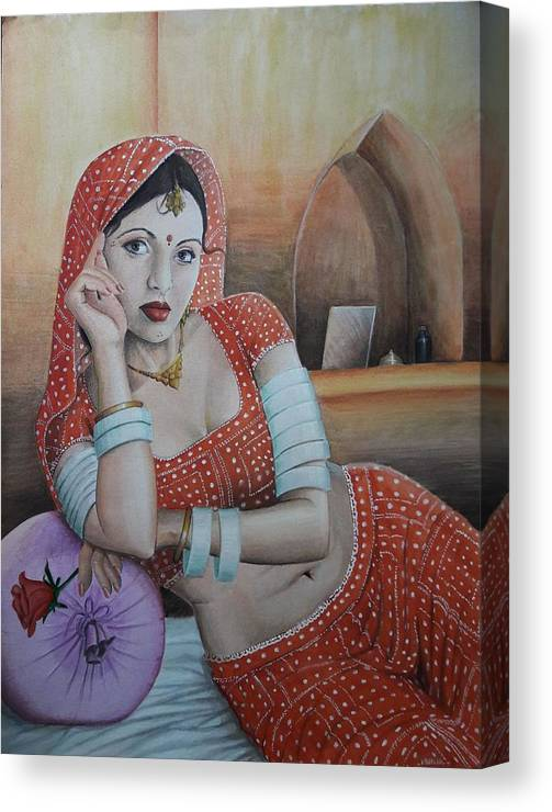 Indian Art Canvas Print featuring the painting Indian Rajasthani Woman by Mukul Maiti