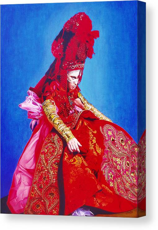 Renaissance Dress Canvas Print featuring the painting Red Dress Too by Vlasta Smola