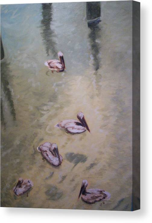 Water Canvas Print featuring the painting Treading Water by Karen Thompson