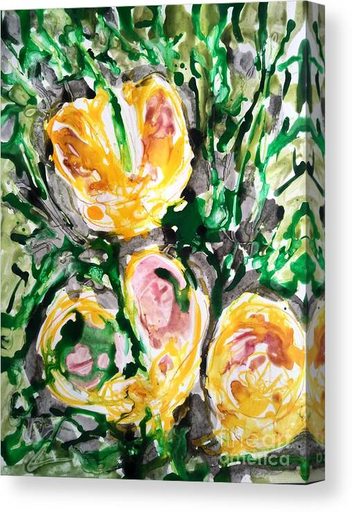 Nature Canvas Print featuring the painting Divine Flowers by Baljit Chadha