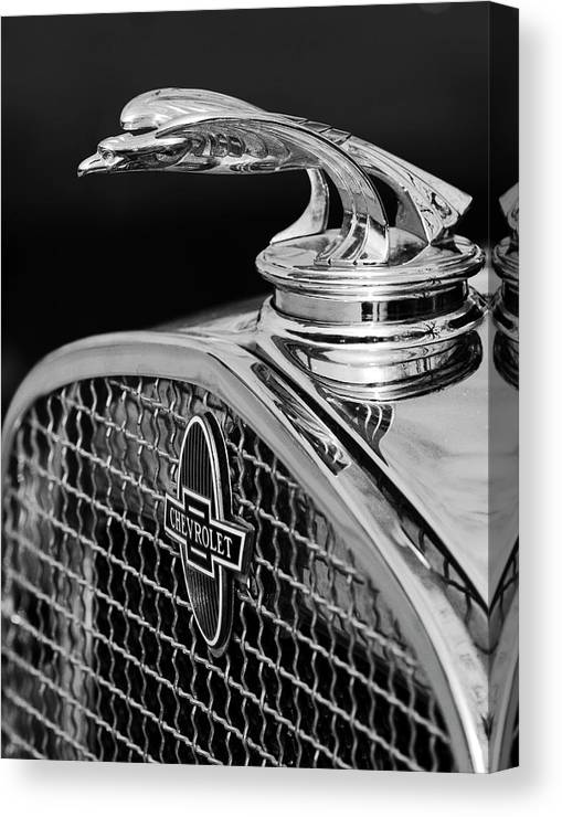 1931 Chevrolet Canvas Print featuring the photograph 1931 Chevrolet Hood Ornament 4 by Jill Reger