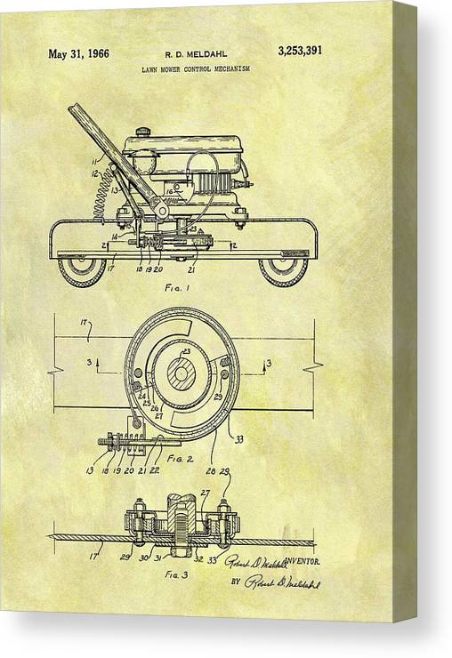 1966 Lawn Mower Patent Canvas Print featuring the drawing 1966 Mower Patent by Dan Sproul