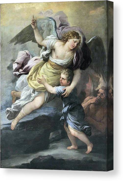 18th Century Rendition Of A Guardian Angel. Angel Canvas Print featuring the painting Guardian Angel by MotionAge Designs