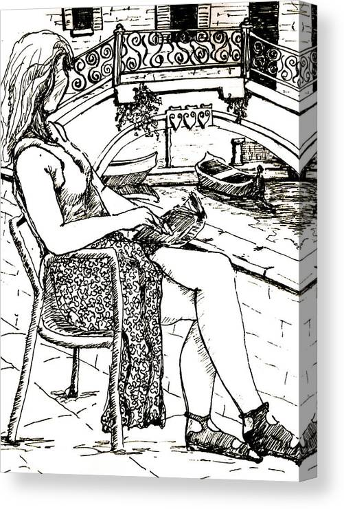 Venice Artwork Canvas Print featuring the drawing A Book In Venice by Dan Earle
