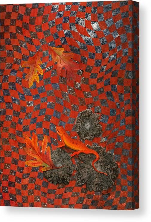 Oak Leave Canvas Print featuring the painting A Newt Day by Linda L Doucette